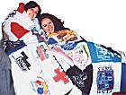 Daughters with T-Shirt Quilts
